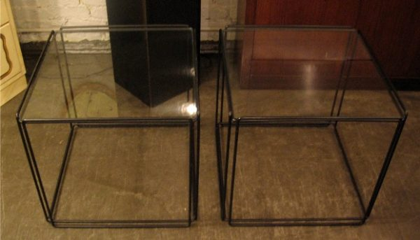 Max Sauze Isocele Wire and Glass Cube Side Tables