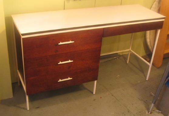 Vista Furniture Steel Frame and Walnut Desk