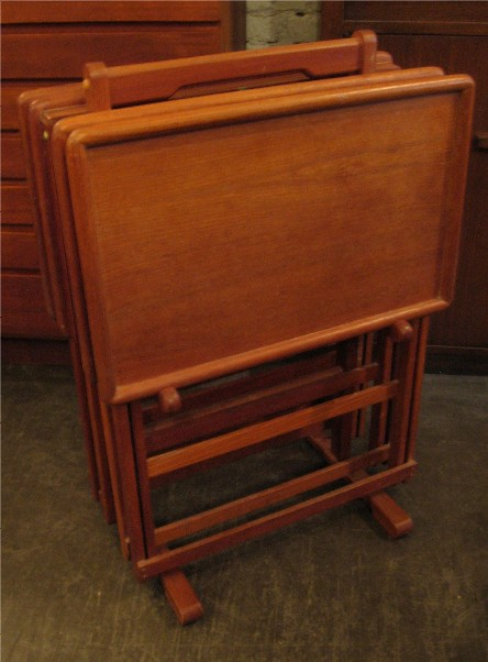 Set of Four Teak Folding Tables with Carrier