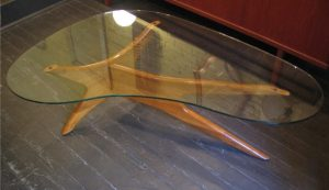 Kidney Shaped Glass and Carved Wood Coffee Table