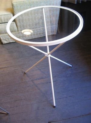 Wrought Iron and Glass Tripod Based Table