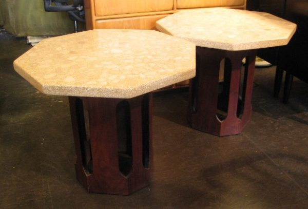 Harvey Probber Style Octagonal Terrazzo Side Tables