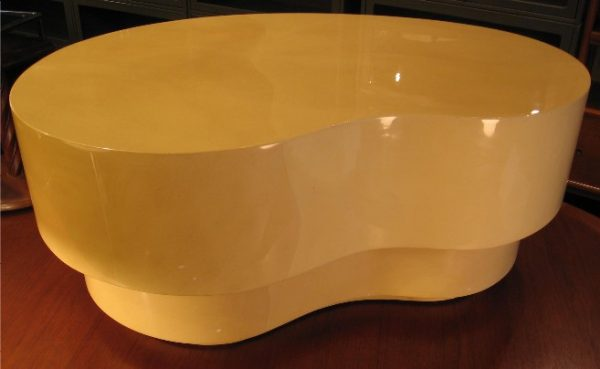 Kidney Shaped Lacquered Faux Goatskin Coffee Table