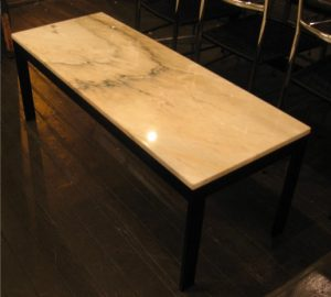 Marble Coffee Table with Metal Flat Bar Base