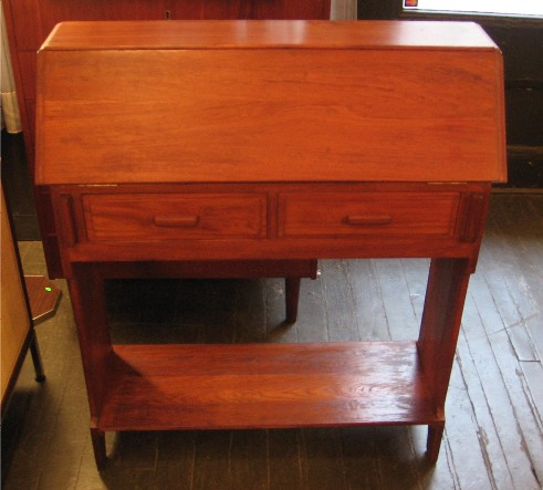 Solid Teak Wood Drop-Front Writing Console