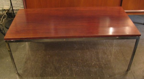 Knoll Rosewood and Chromed Steel Coffee Table