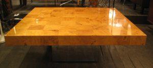 Milo Baughman Chrome and Burlwood Coffee Table