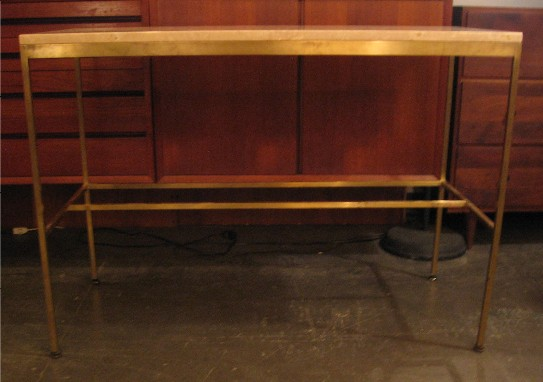 Paul McCobb Brass and Travertine Console Tables