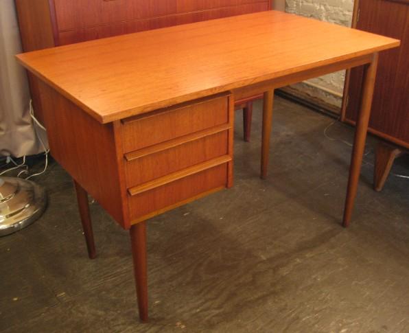 Small Single Pedestal Teak Desk from Denmark