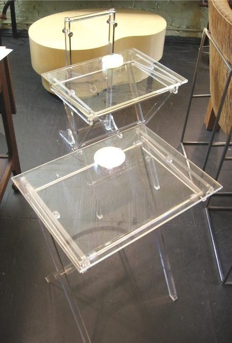 Pair of Folding Lucite TV Tables with Stand