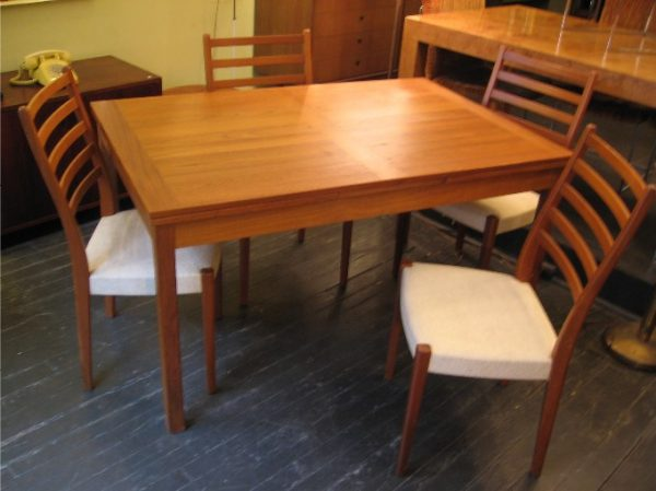 Danish Teak Extension Table with Four Chairs