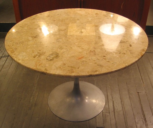 Marble Top Tulip Dining Table with Aluminum Base