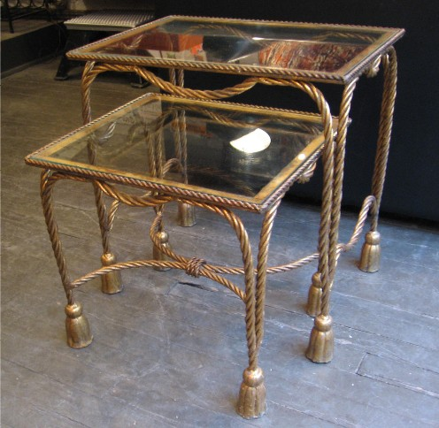 Gilt Iron Rope and Tassel Nesting Tables from Italy