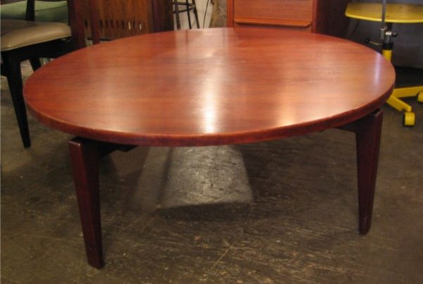 Jens Risom Floating Walnut Coffee Table with Lazy Susan Top