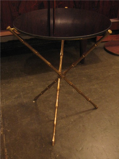 Maison Bagues Style Faux Bamboo Brass Tripod Side Tables