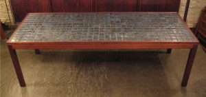 Large Rosewood and Tile Coffee Table