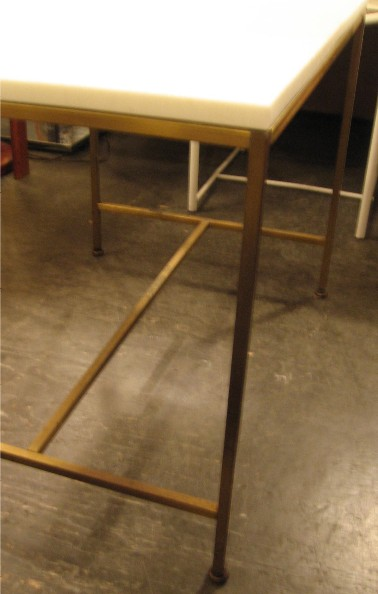 Paul McCobb Brass Side Table with Vitrolite Glass