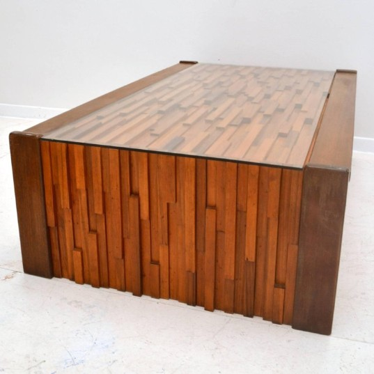 Brutalist Coffee Table in Brazilian Hard Wood Relief by Percifal Lafer