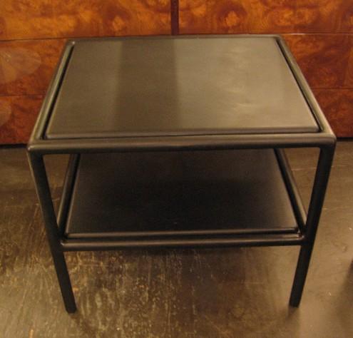 Ward Bennett Open Frame Ebonized Wood & Leather Side Tables