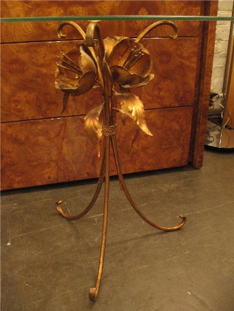 Pair of Italian Gilt Metal and Glass Side Tables