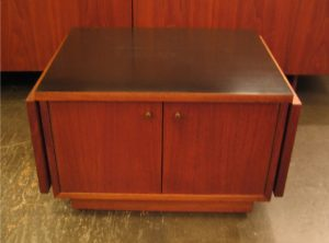Small Walnut Cabinet with Black Laminate Top & Leaves