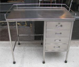 Industrial Stainless Steel Desk with Four Drawers