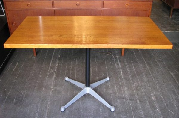 Eames Aluminum Group Table with Danish Teak Top