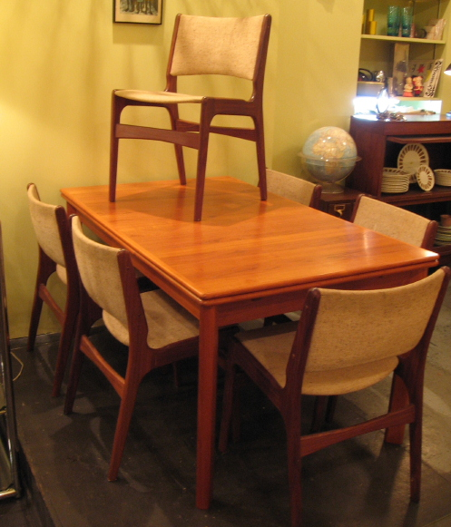 Teak Draw Leaf Table and Six Chairs
