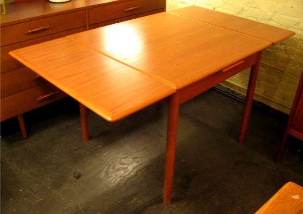 Small Danish Teak Draw Leaf Extension Table
