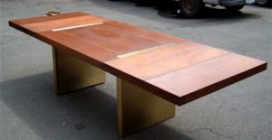 Widdicomb Walnut Rosewood and Brass Dining Table