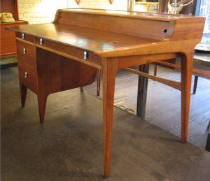 Drexel Profile Desk in Walnut & Leather