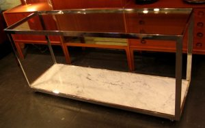 Chrome Marble and Glass Console Table
