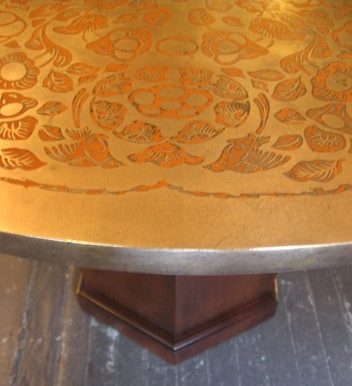 Impressed Brass Top Dining Table in the Style of Phillip and Kelvin Laverne
