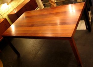 Rosewood, Mahogony and Walnut Parsons Dining Table