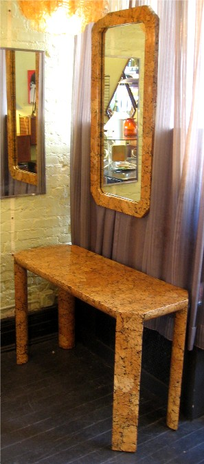 Lacquered Crab Shell Veneered Console Table and Mirror