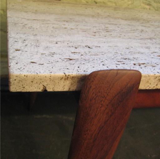 Gio Ponti Walnut and Travertine Coffee Table