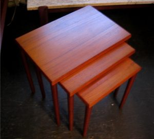 Set of Three Danish Teak Nesting Tables