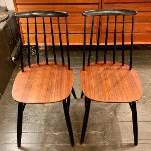 Teak & Lacquered Spindle Back Chairs from Denmark