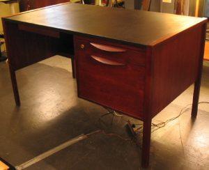 Jens Risom Single Pedestal Desk w/ Drop Leaf Typing Table