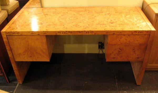 Double Pedestal Burlwood Desk