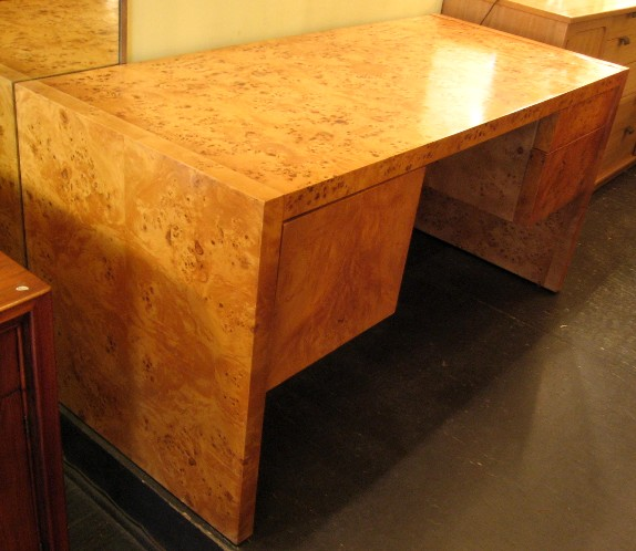 Double Pedestal Burlwood Desk