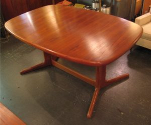 Danish Teak Pedestal Based Dining Table by Rasmus