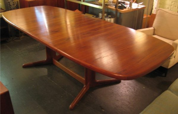 Danish Teak Pedestal Based Dining Table by Rasmus