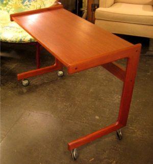 Danish Rolling Teak Keyboard Table