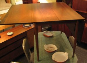 Walnut and Rosewood Drop-Leaf Table