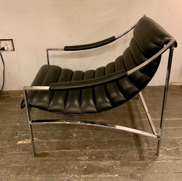 Italian Chrome & Ribbed Vinyl Lounge Chair with Ottoman, Attr. Otto Gerdau