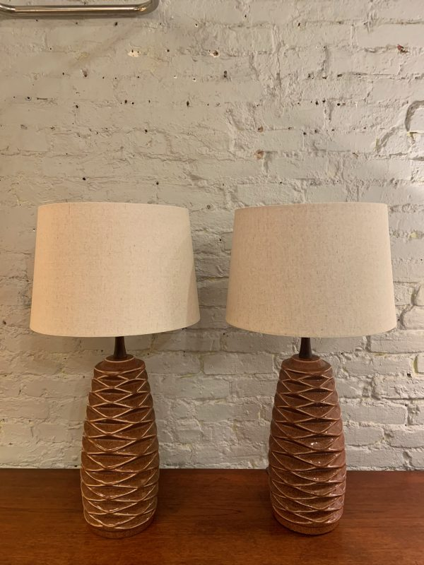 Honeycomb Ceramic Lamps by Haeger a Pair