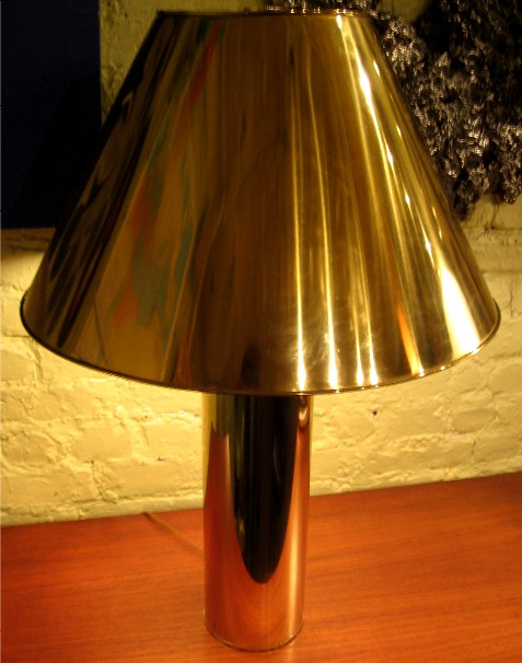 1970s Cylindrical Brass Lamp and Shade