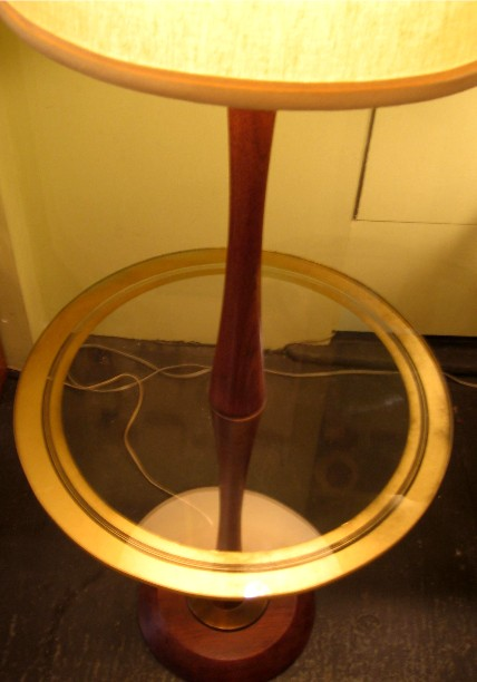 1950s Tapered Walnut and Glass Lamp Table