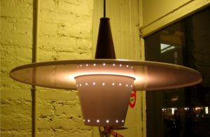 1950s Pressed Metal Pendant Lamp by Lightolier